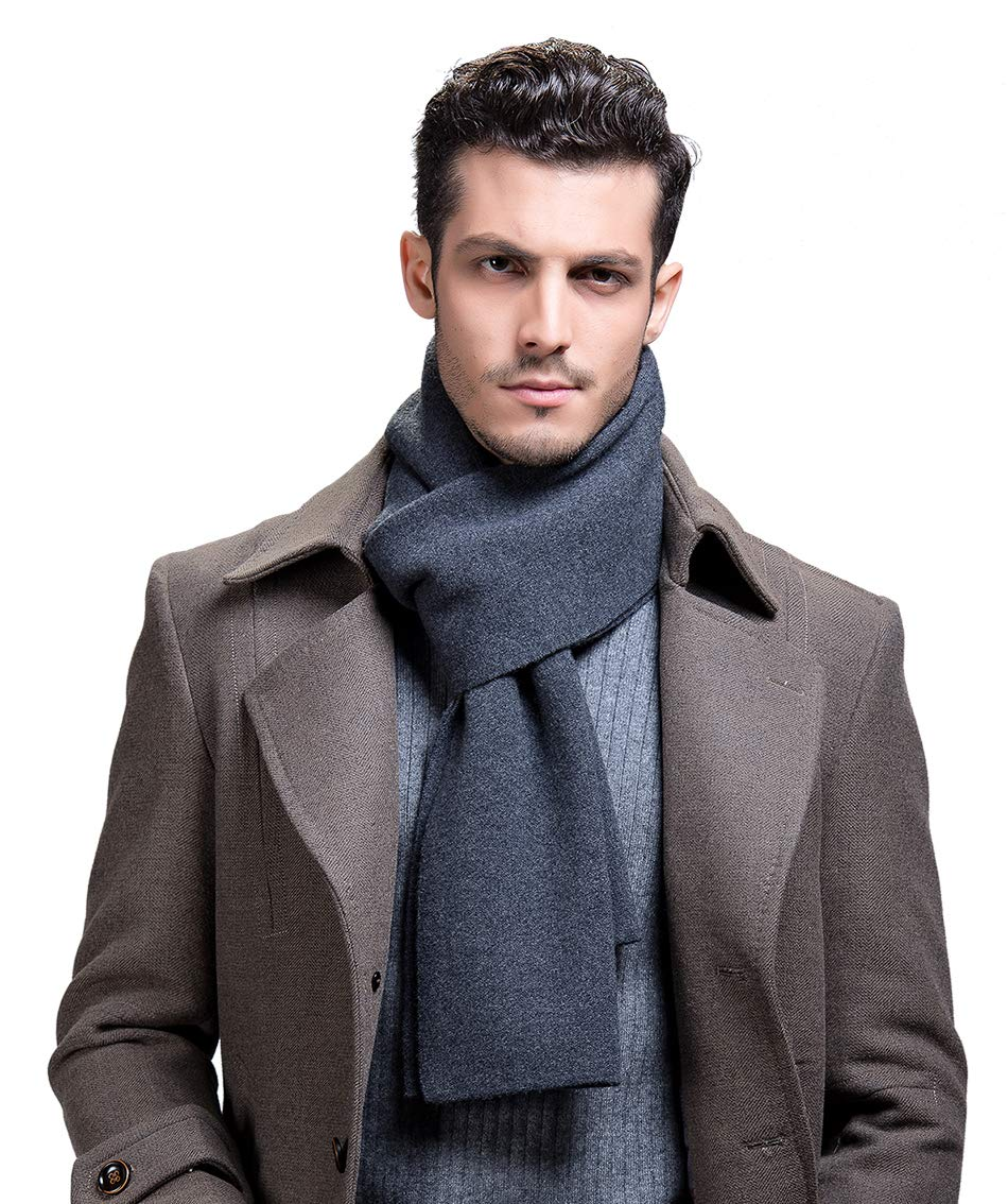 RIONA Men's 100% Australian Merino Wool Scarf Knitted Soft Warm Neckwear with Gift Box (Light grey) RIW9001Ligrey