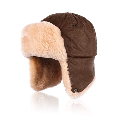 1fdacc07d99 Image Unavailable. Image not available for. Color  IKEPOD Shearling  Sheepskin Pilot Aviator Russian Ushanka Winter Trapper Hat