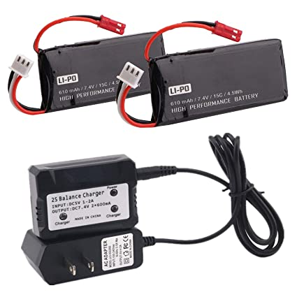 Amazon.com: 2 piezas 7,4 V 610 mAh batería y 1 pieza ...