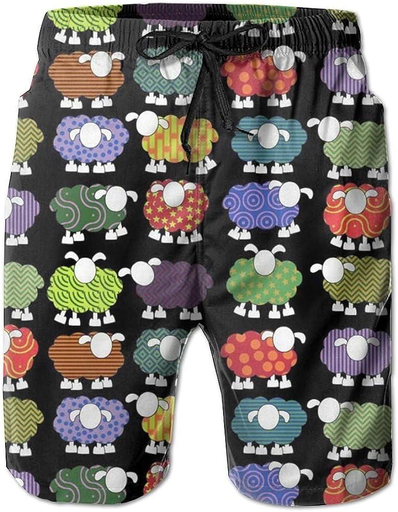 KIOT156 Mens Quick Dry Swim Trunks Colorful Colorful Sheeps Beach Shorts