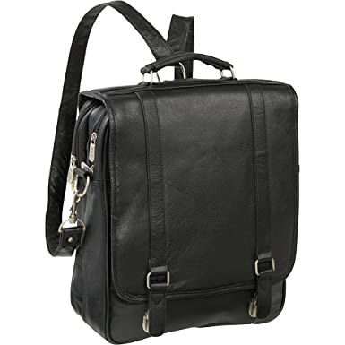 Amazon.com | AmeriLeather Leather Laptop Backpack Briefcase (Black ...