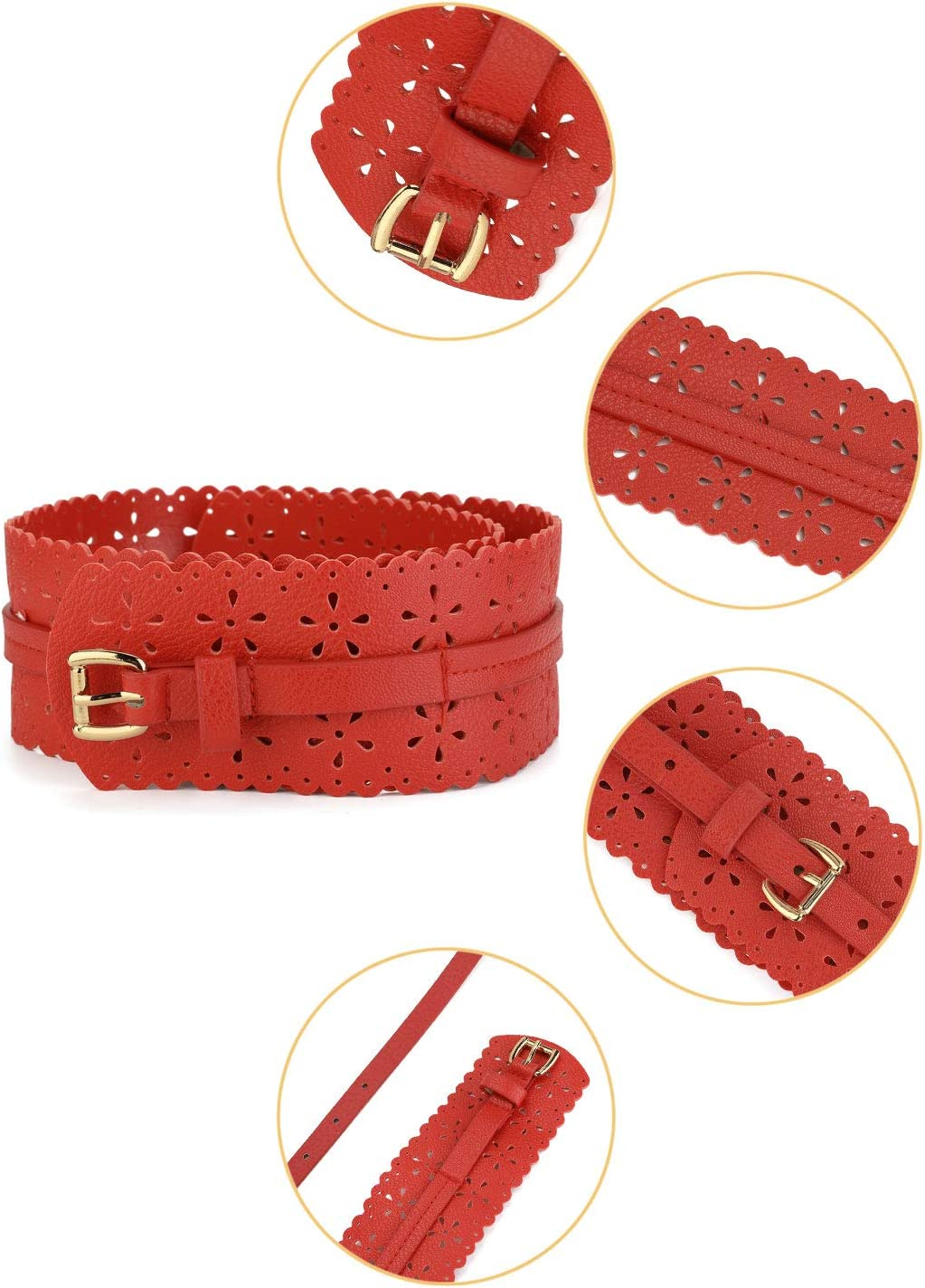 uxcell/® Vintage Hollow Floral Leather Cinch Waistband Wide Belts With Buckle for Women Brown