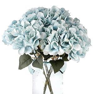 Louiesya Artificial Flowers Silk Hydrangea Flowers with 5 Big Heads Fake Flower Bunch Bouquet for Home Wedding Party Decor DIY (Sky Blue)