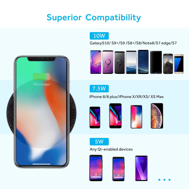 Qi-Zertifiziert Schwarz 10W Kabellose Ladestation f/ür iPhone XS MAX//XR//XS//X//8//8 Plus Samsung Galaxy S10//S9//S9+//S8//S8+ usw Lecone Wireless Charger Ladepad