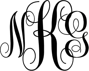 Personalized Monogram Initials Wall Decals of Premium Vinyl Stickers for Home and Wall Décor - Custom Sizes and Colors Match The Theme of Any Living Space