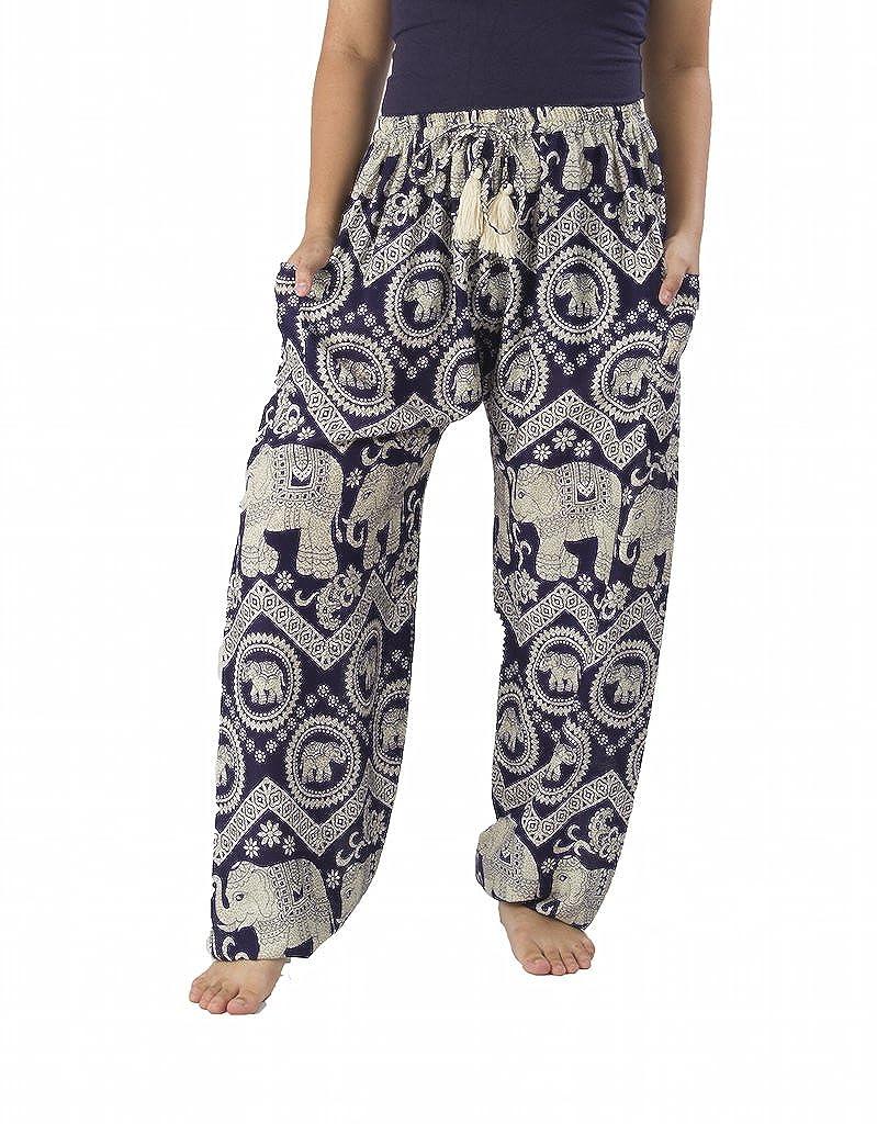 Dark bluee Lannaclothesdesign Women's Elephant Hippie Boho Yoga Harem Pants