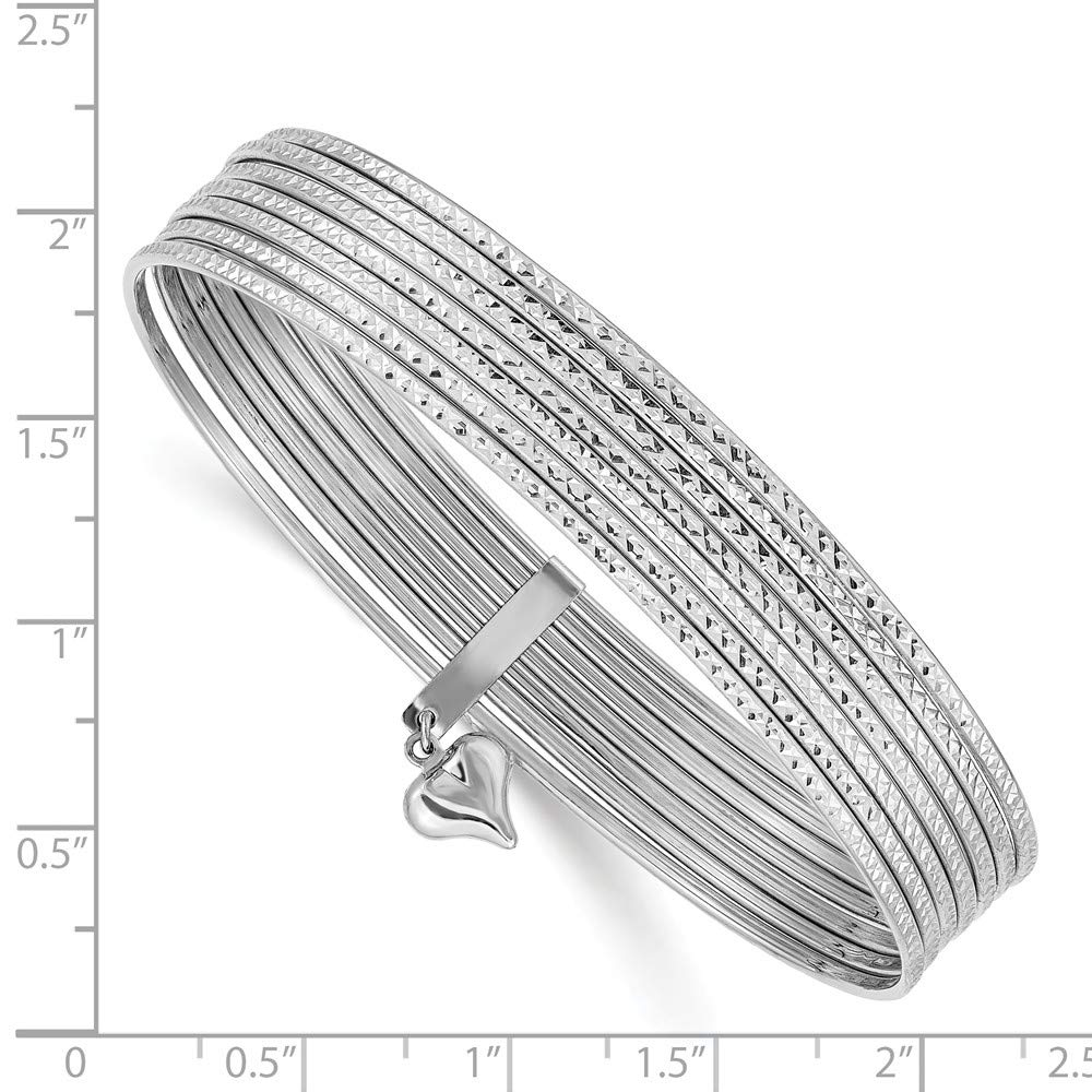 14k White Gold Slip On 7 Bangles Bracelet Cuff Expandable Stackable Bangle Fine Jewelry Gifts For Women For Her by ICE CARATS (Image #3)