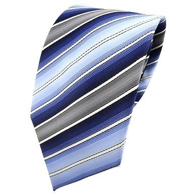 TigerTie - Corbata - azul claro azul oscuro crema gris rayas ...