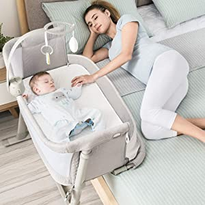 Baby Bassinet,RONBEI Bedside Sleeper Baby Bed Cribs,Baby Bed to Bed, Newborn Baby Crib,Adjustable Portable Bed for Infant/Baby Boy/Baby Girl (Bassinet)