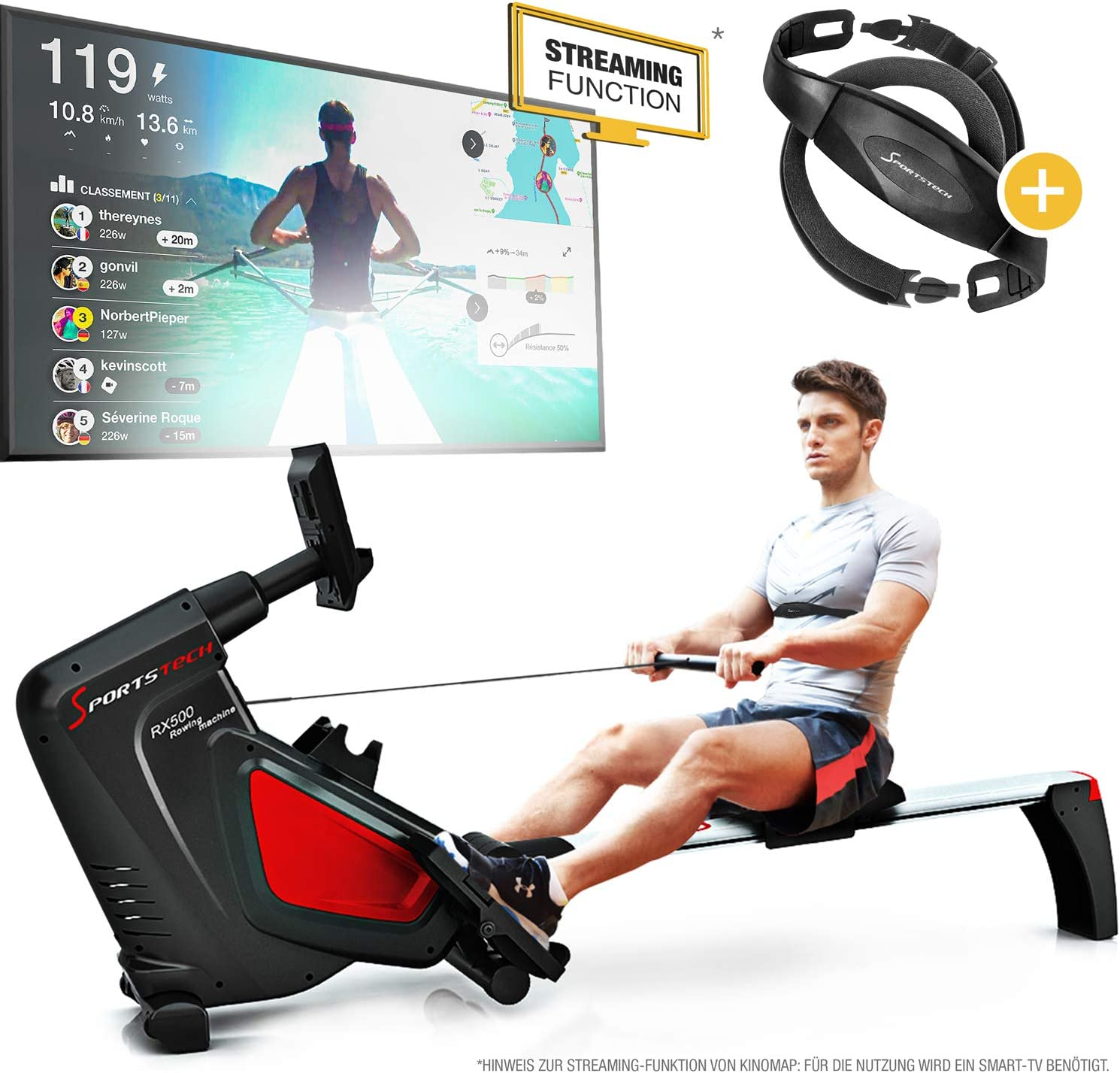 Sportstech RSX500 Máquina de Remo - Marca de Calidad Alemana - Eventos en Directo y App multijugador - Incl. pulsómetro (Valor: 39,90) 16 programas, Resistencia magnética, Modo competición, Plegable