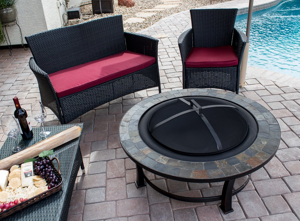 Amazon.com : AZ Patio Heaters Fire Pit With Round Table, Wood Burning :  Garden U0026 Outdoor