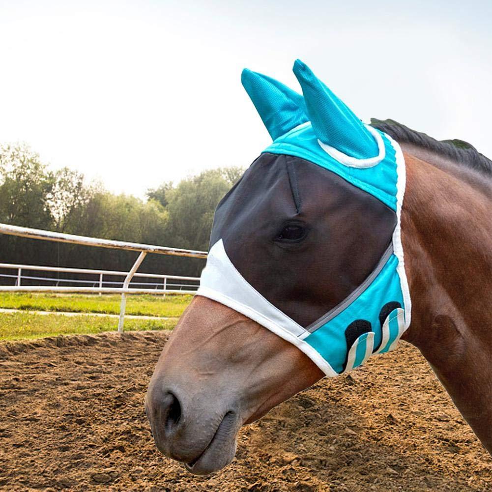Pferd Maske Atmungsaktives Mesh Moskito Maske Sommer Anti-M/ücken-Halbmaske didatecar Fliegenmaske Fliegenschutzmaske Fliegenhaube UV-Schutz Mit Ohrenschutz Fly Professional Space