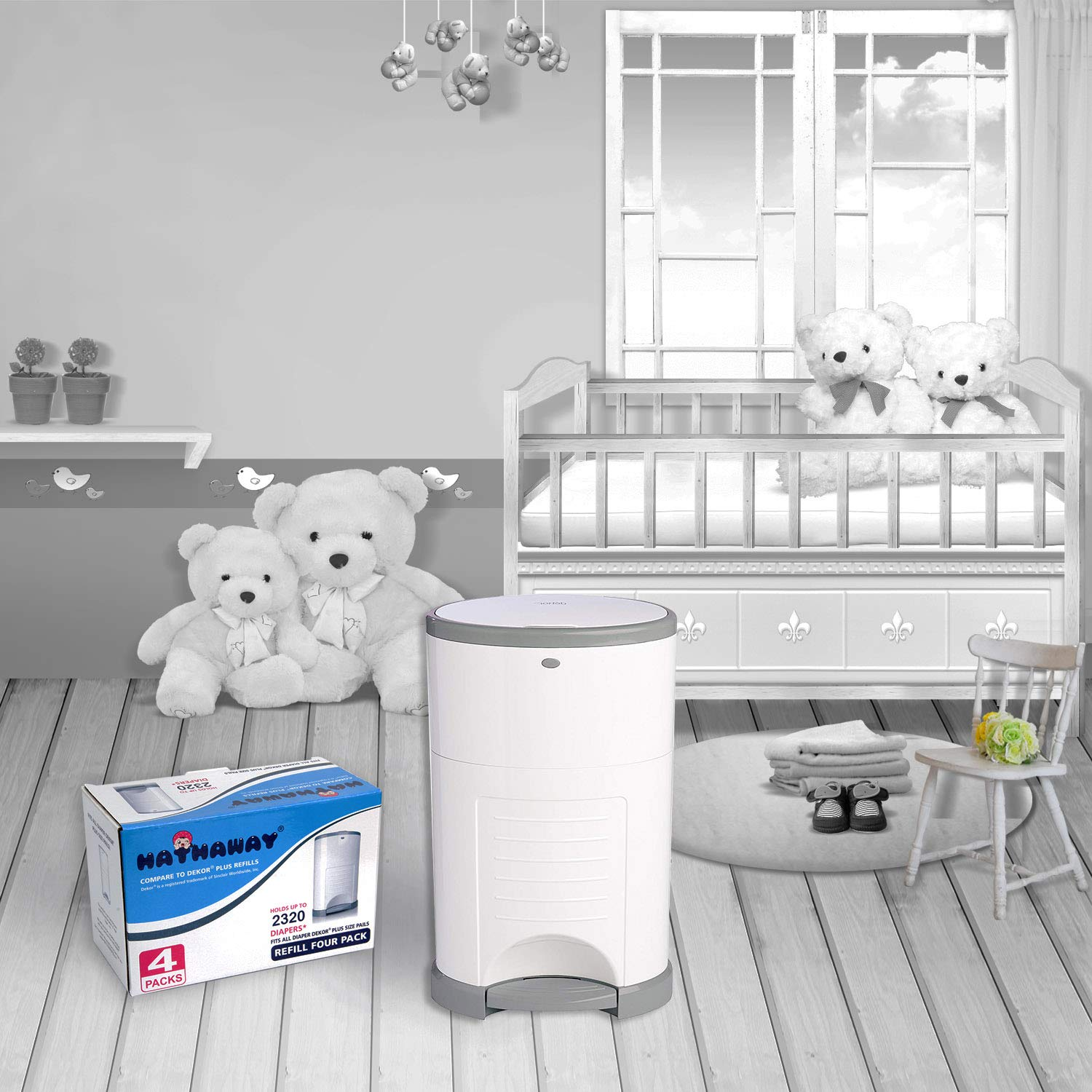 Holds up to 2320 Diapers Dekor Plus Refill Hathaway Dekor Plus Diaper Pail Refills- 4 Pack The Most Economical Dekor Diaper Pail Refills Save 30/% 4 Pack Bamboo Charcoal