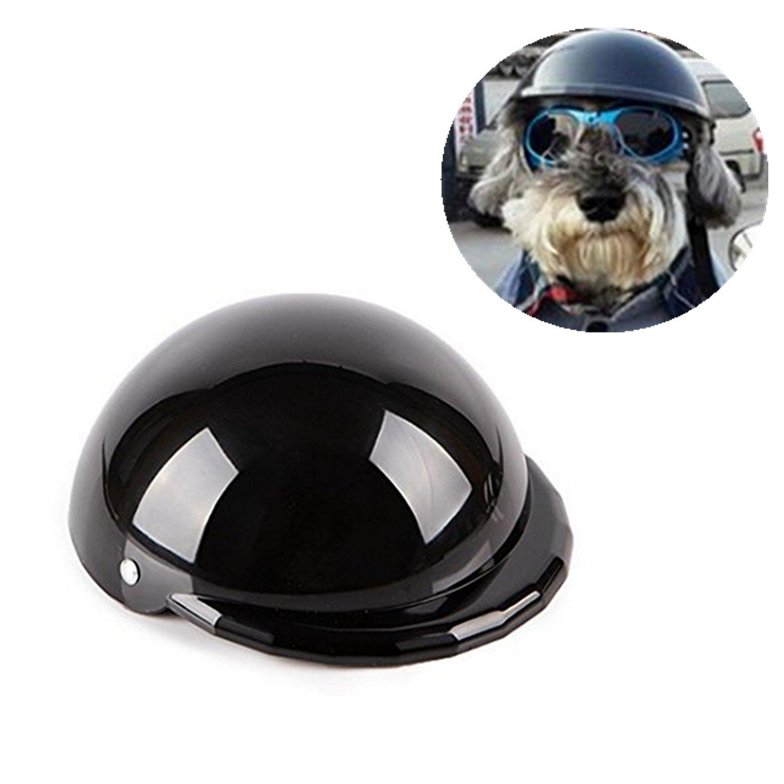 IAMUQ Dog Helmet, Cool Black Pet Hat Funny Dog Helmet for Sun Rain Protection Small Medium Costumes Accessories - MMedium Costumes Accessories - M