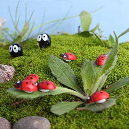 Delicieux Botrong 10Pcs Miniature Ladybird Ladybug Garden Ornament Figurine Fairy  Dollhouse Decor