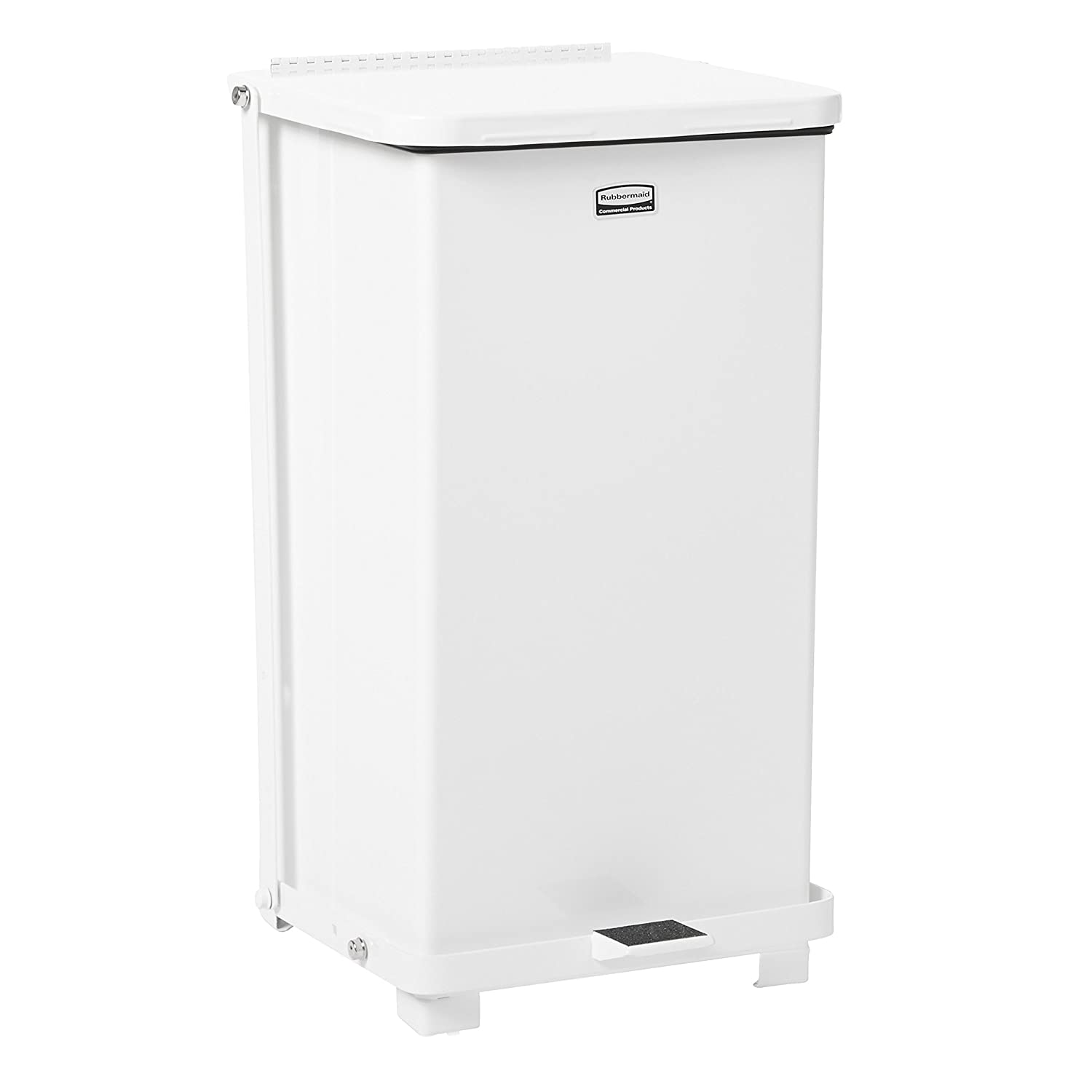 Rubbermaid Commercial Defenders Step-On Trash Can with Plastic Liner, 12 Gallon, White, FGST12EPLWH