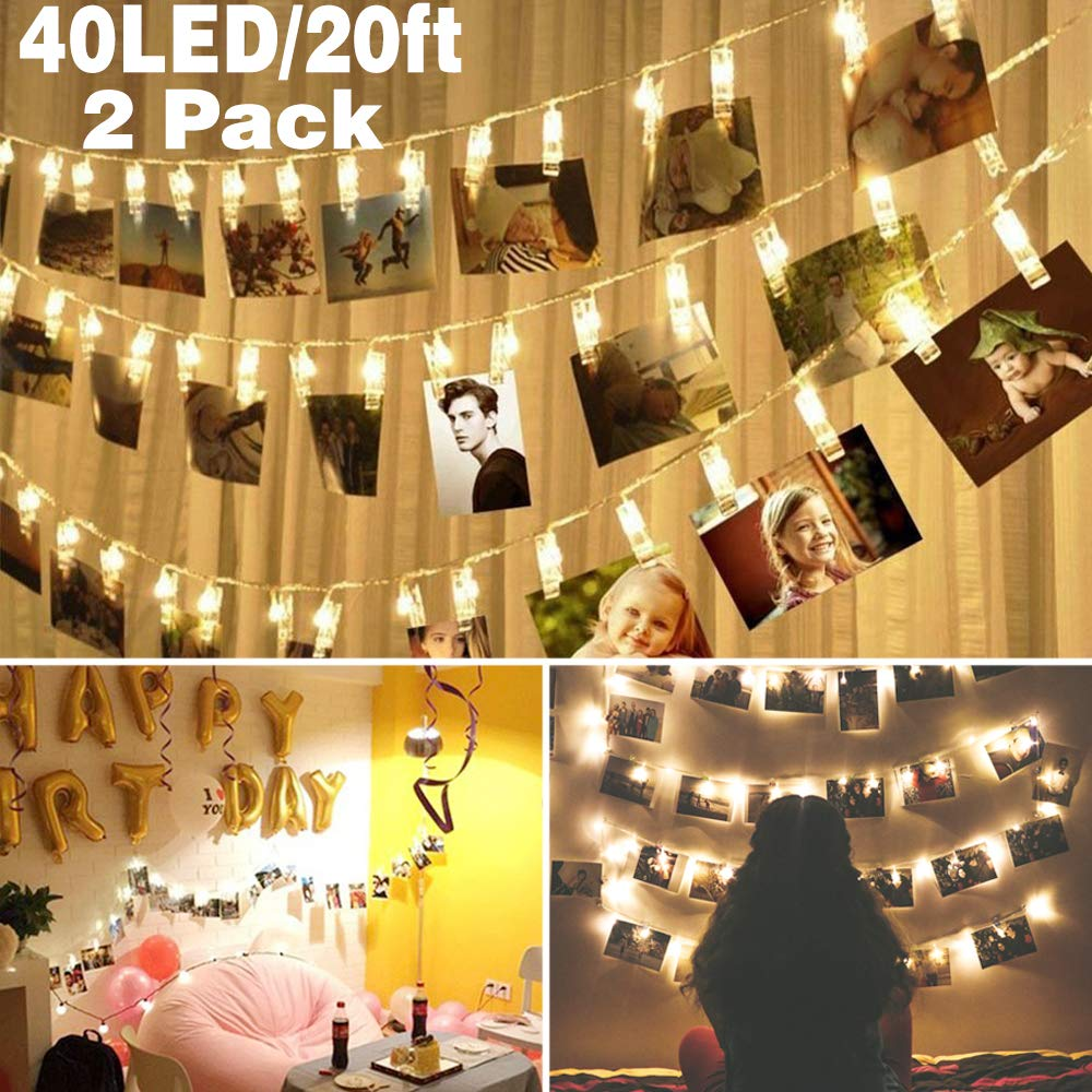 2 pack 40 LED Photo Clips String Lights Battery Operated Waterproof 20ft Fairy Light Long Lasting Indoor Girls Bedroom Decoration Hang Picture Outdoor Wedding Party Halloween Christmas Birthday Gift