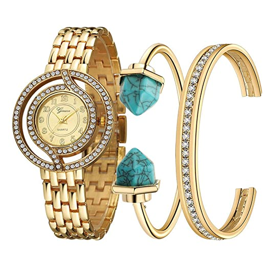 Reloj mujer conjunto reloj + pulsera de titanio pulsera de joyas (tres piezas)