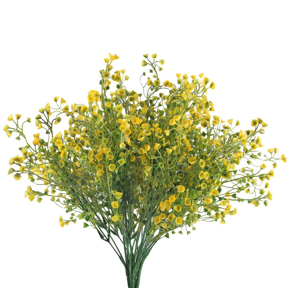 GTIDEA Artificial Outdoor Plants Fake Plastic Shrubs Bushes Farmhouse Faux Flowers Home Table Vase Centerpiece Bridal Wedding Bouquet Cemetery Decor Pack of 4 (Yellow)