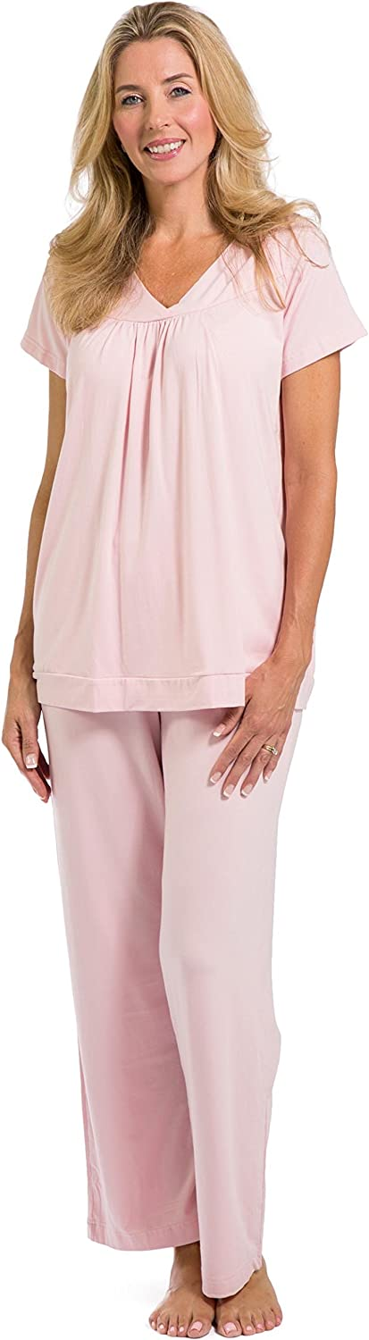 Fishers Finery Women's Ecofabric Pajama Set; Short Sleeve Top & Full Length Pant with Gift Box