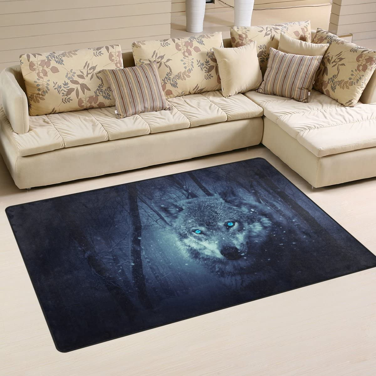 LORVIES Wolf Forest Area Rug Carpet Non-Slip Floor Mat Doormats Living Room Bedroom 60 x 39 inches