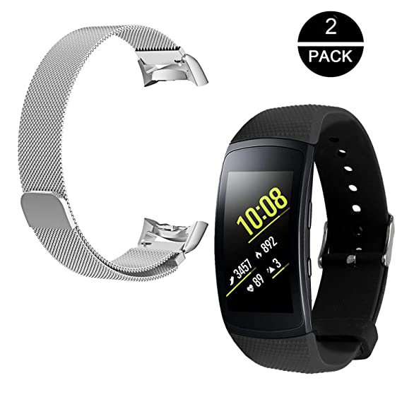 Rukoy Band Replacement Samsung Gear Fit2/ Fit2 Pro Tracker[2-Pack: Silicone Replacement Band Stainless Steel Wristband] Silicon Bands Sport ...