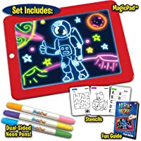 Wazdorf Magic Sketch Drawing Pad   Light Up LED Glow Board   Draw, Sketch, Create, Doodle, Art, Write, Learning Tablet   Includes 3 Dual Side Markets, 30 Stencils and 8 Colorful Effects for Kids
