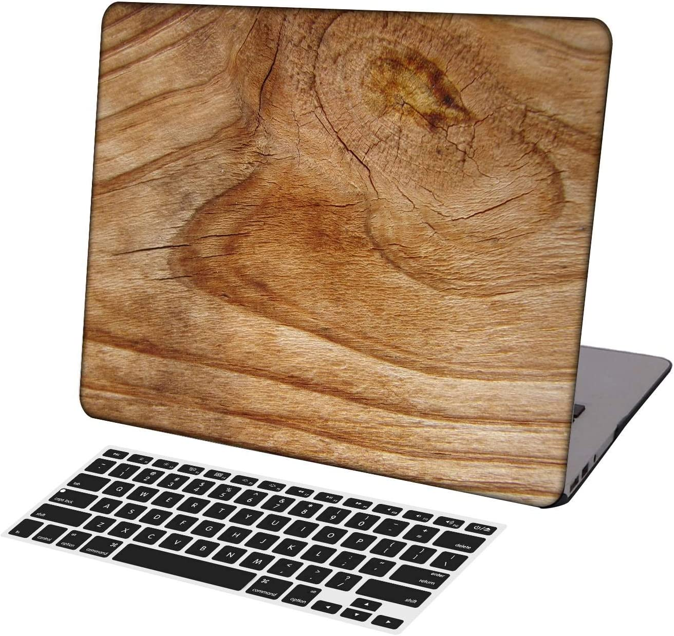 KSK KAISHEK Laptop Case for Newest MacBook Pro 13 inch A2289/A2251/A2159/A1989/A1706/A1708,Plastic Ultra Slim Light Hard Shell + Keyboard Cover Compatible MacBook Pro 13 inch,Wood Grain