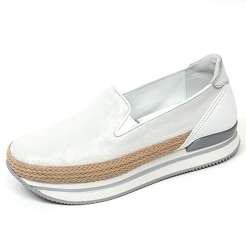D0554 mocassino donna HOGAN H222 scarpa pantofola argento/bianco shoes woman