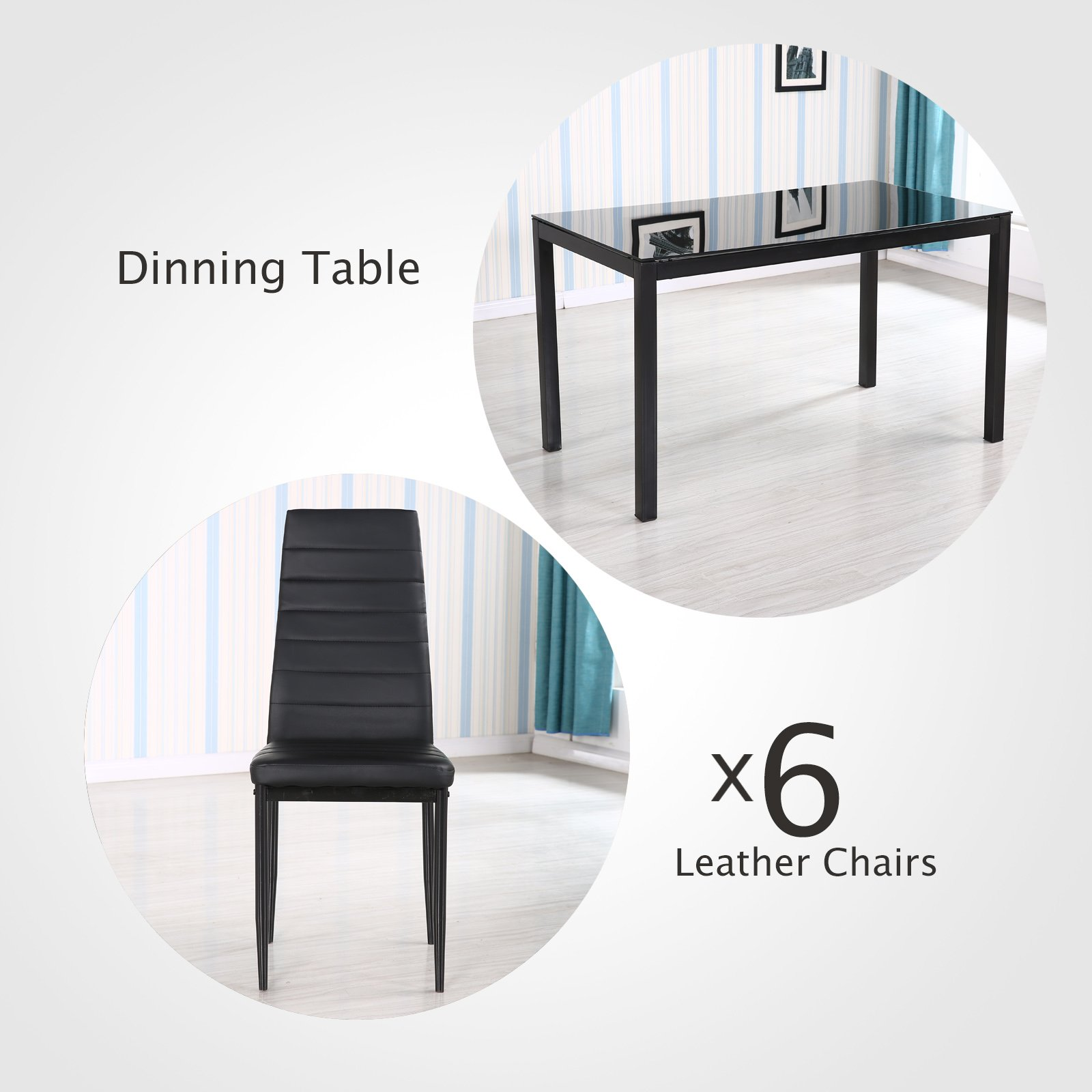 Mecor 7 Piece Kitchen Dining Set, Glass Top Table with 6 Leather Chairs Breakfast Furniture,Black by Mecor (Image #3)