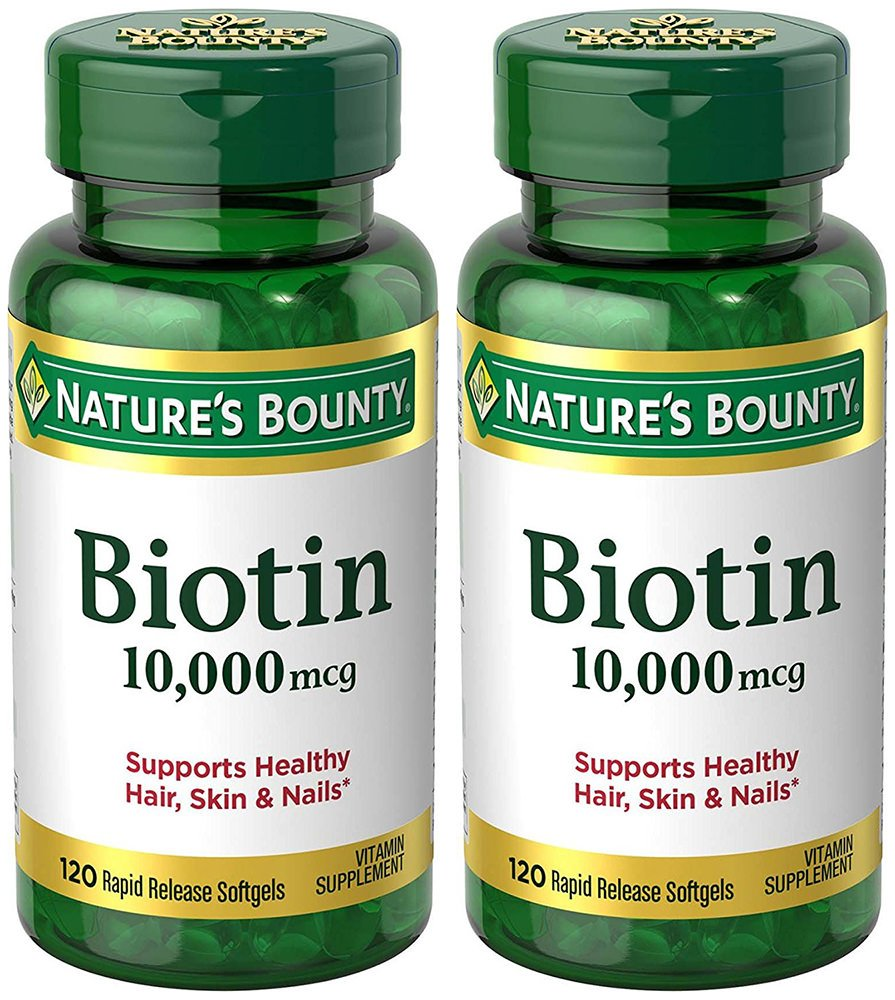 Biotin 10,000 Mcg, 120 Rapid Release Softgels (2 Bottles)