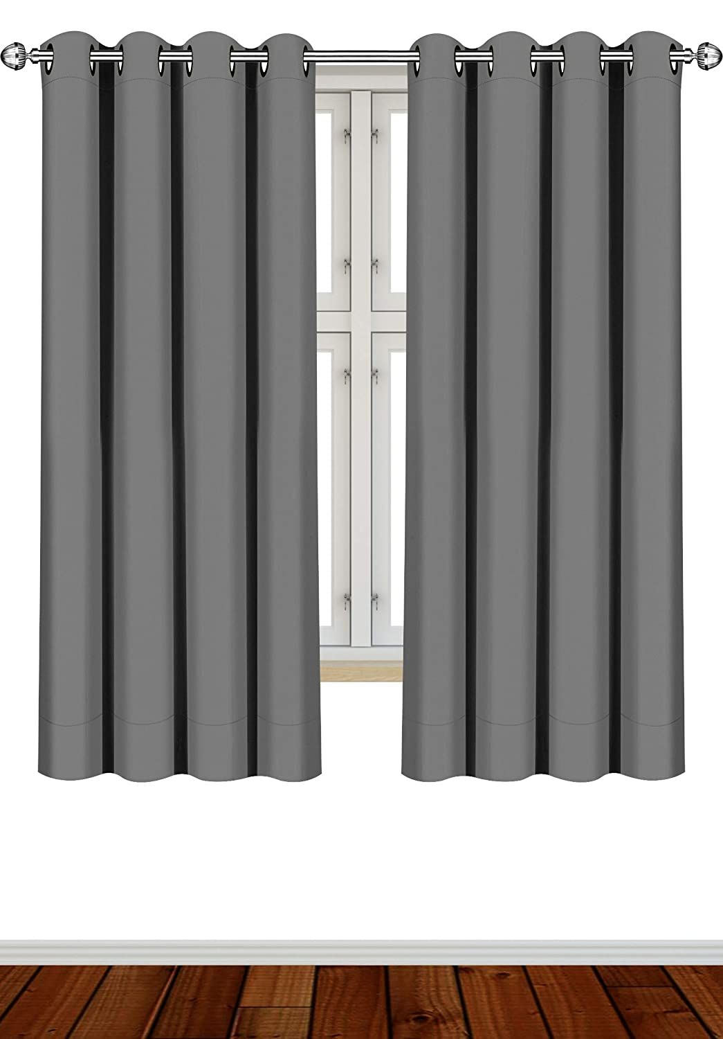 Utopia Bedding 2 Panels Eyelet Blackout Curtains Thermal Insulated for Bedroom, 46 x 54 Inches, Grey