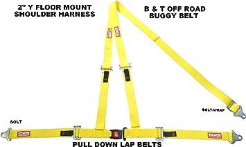 Racerdirect.net Blue SEAT Belt Race Style 3 Point Harness Bolt in Y Floor Mount Push Button