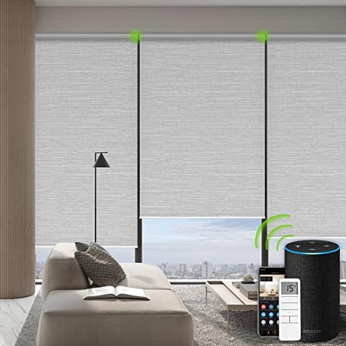 Yoolax Motorized Roller Shades Cordless Half-Shading Free-Stop Roller Blinds Rechargeable Window Blinds Work