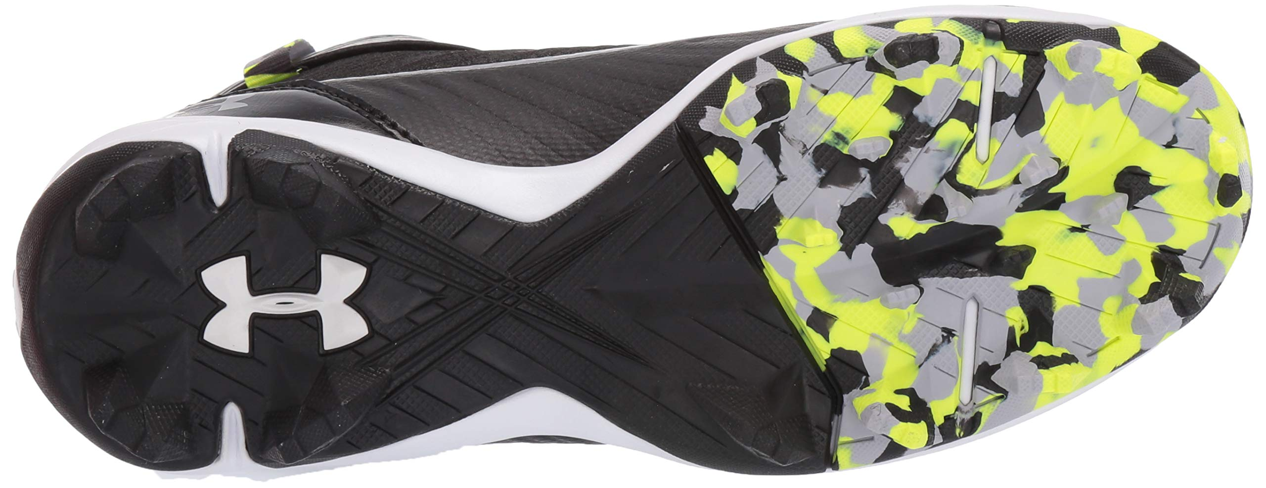 Under Armour Boys' Harper 3 Mid Jr. RM Baseball Shoe Black (001)/White 1.5 by Under Armour (Image #3)