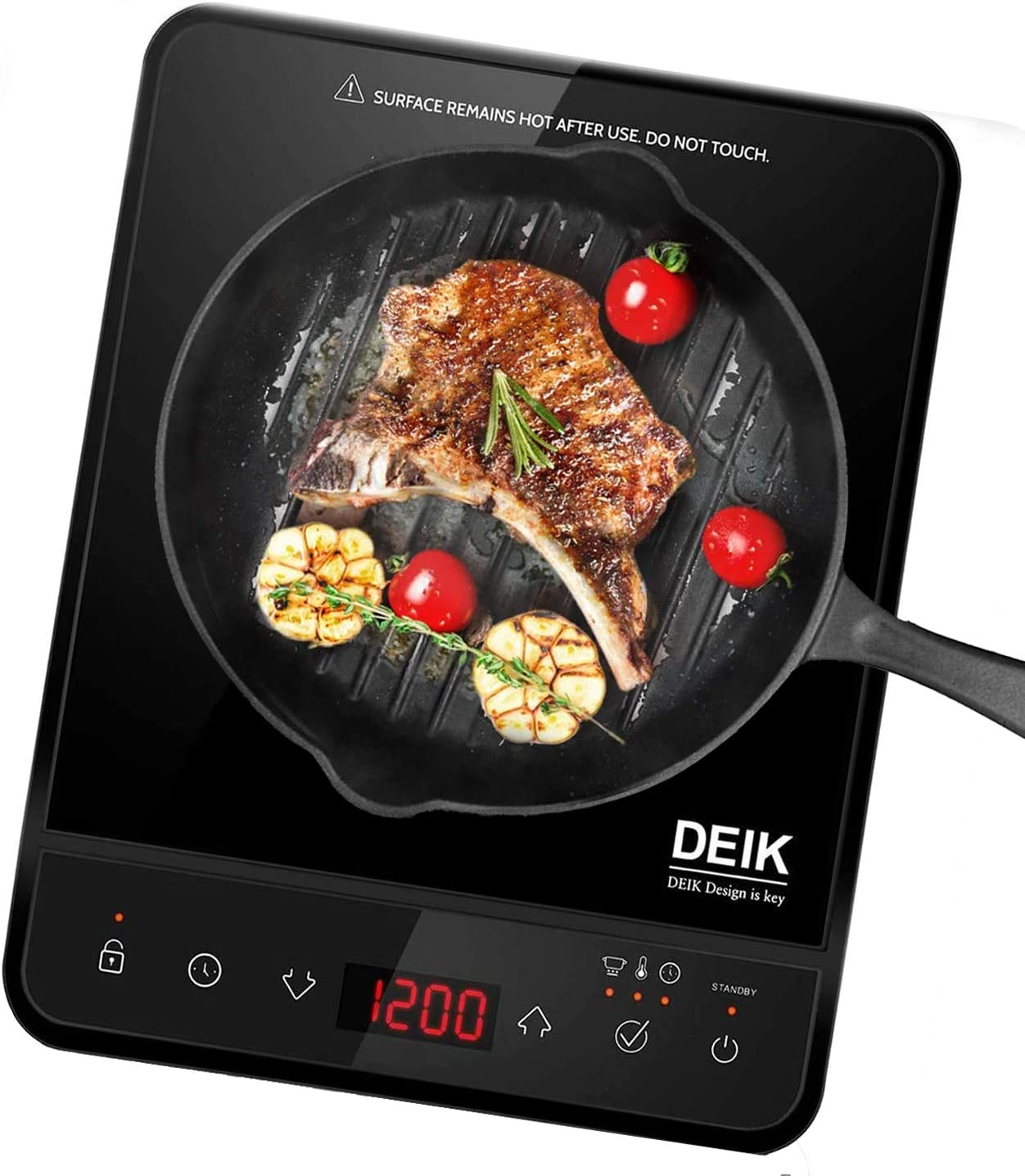 Portable Induction Cooktop, Deik 1800W Full Color Touchscreen Interface Induction Cooker with 10 Temperature & 15 Power Level Settings, Induction Burner with Timer, and Child Safety Lock, Black