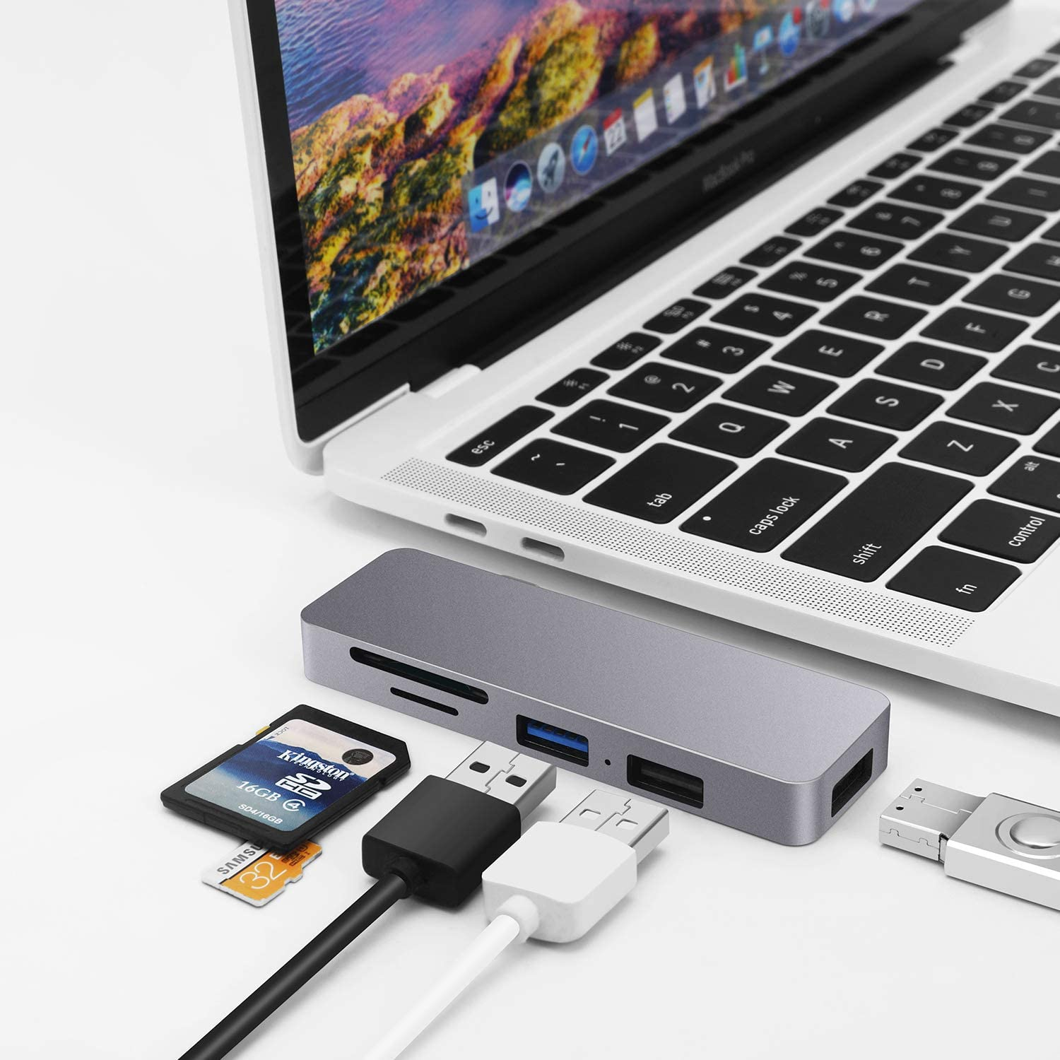 USB C Hub for MacBook,6-in-1 Type C Hub Adapter for Laptop with USB 3.0/2.0, 87W Small USB Hub for Laptop Powered Delivery, TF/SD Card Reader Compatible for MacBook Pro, XPS More Type C Devices