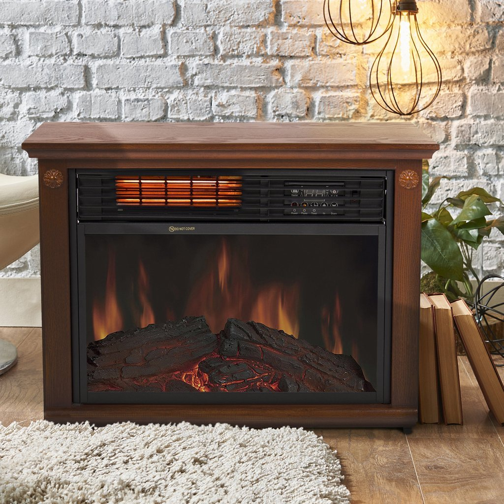 Fireplace Electric Heater 1500 Watt Free Standing With Remote In Modern Design
