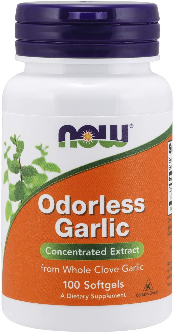 NOW Supplements, Odorless Garlic (Allium sativum), Concentrated Extract, 100 Softgels