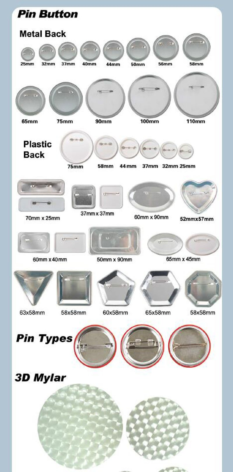 Mirror Keychain 58mm 2-1/4'' Supplies 100sets for Pro Maker Machine Commerciadiy(item#015703)
