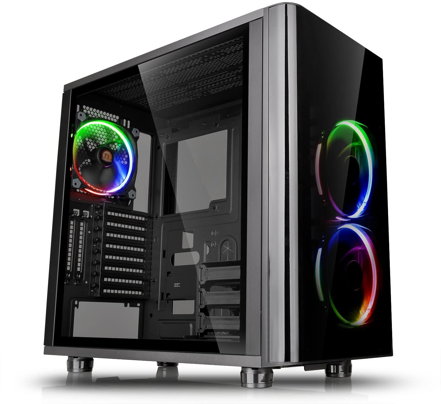 Thermaltake View 31 RGB Dual Tempered Glass SPCC ATX Mid Tower Gaming Computer Case Chassis, 3 RGB LED Ring Fans Pre-Installed CA-1H8-00M1WN-01