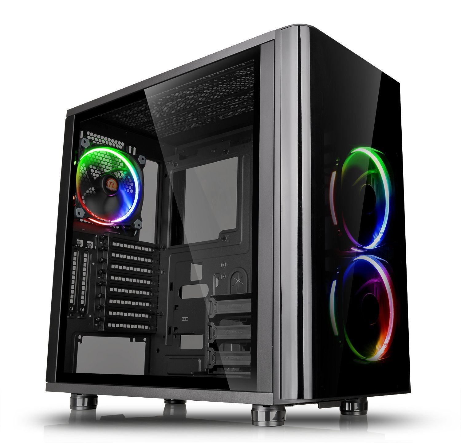 Thermaltake View 31 RGB Dual Tempered Glass SPCC ATX Mid Tower Tt LCS Certified Gaming Computer Case with 3 RGB LED Ring Fan Pre-installed CA-1H8-00M1WN-01 by Thermaltake