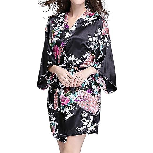 kakaforsa Women Sexy Sleepwear Kimono Peacock and Blossoms Satin Robes  V-neck Bath Robe Silk 9983bcfac
