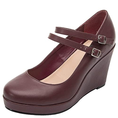 8f598f4498f26 Luoika Women's Wide Width Heel Pump - Ankle Buckle Strap Heel Close Toe  Stilleto Platform Mary-Jean Shoes.