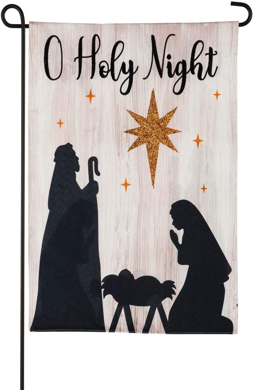 Evergreen Flag Beautiful Christmas Nativity Silhouette Linen Garden Flag - 13 x 18 Inches Fade and Weather Resistant Outdoor Decoration for Homes, Yards and Gardens