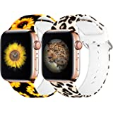 eseekgo [2 Pack] Compatible with Apple Watch Band 38MM 40MM Women Men, Sport Silicone Fadeless Cheetah Floral Printed Pattern
