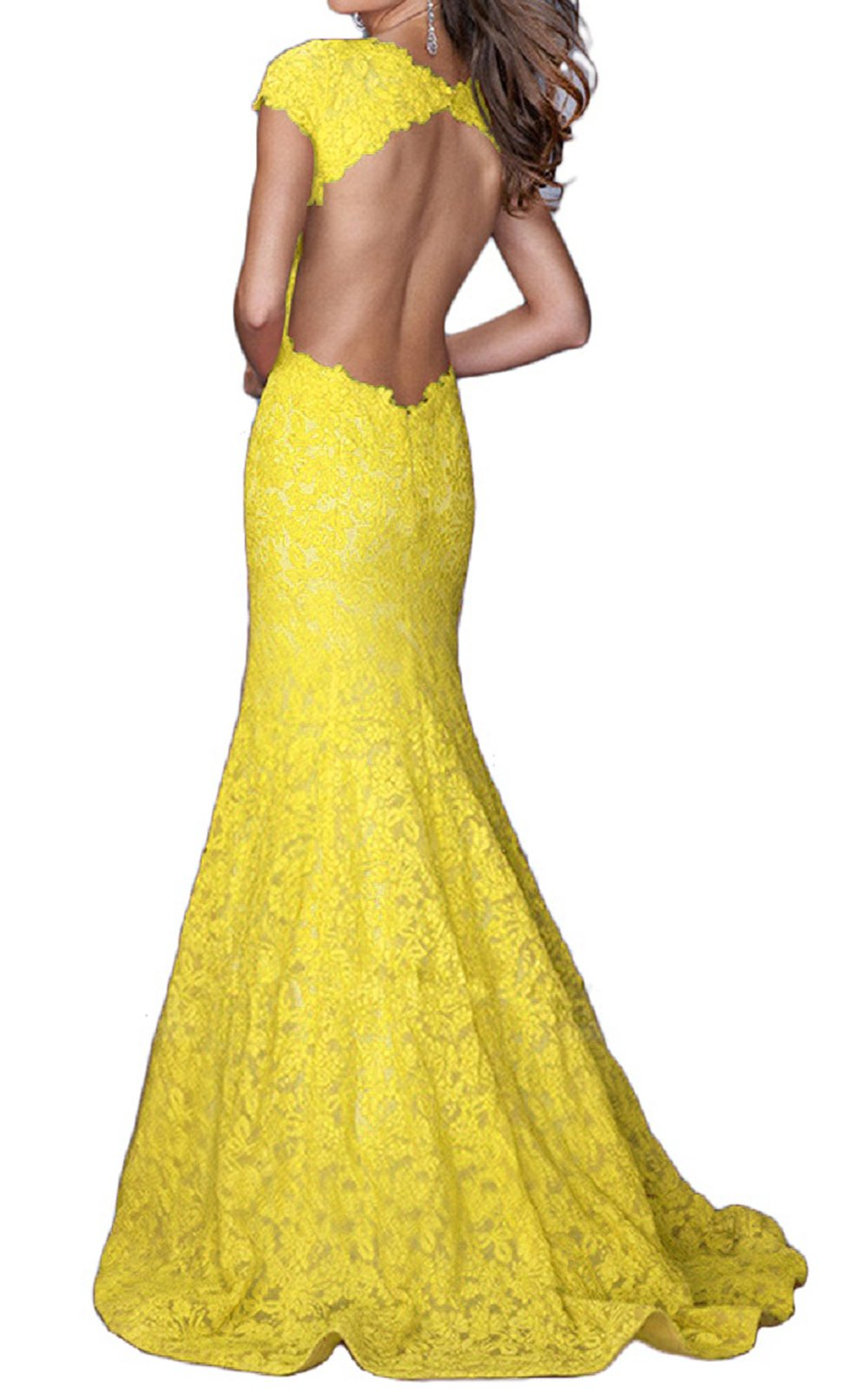 FELALA Women's Backless Mermaid Lace Long Evening Prom Dresses Yellow 2