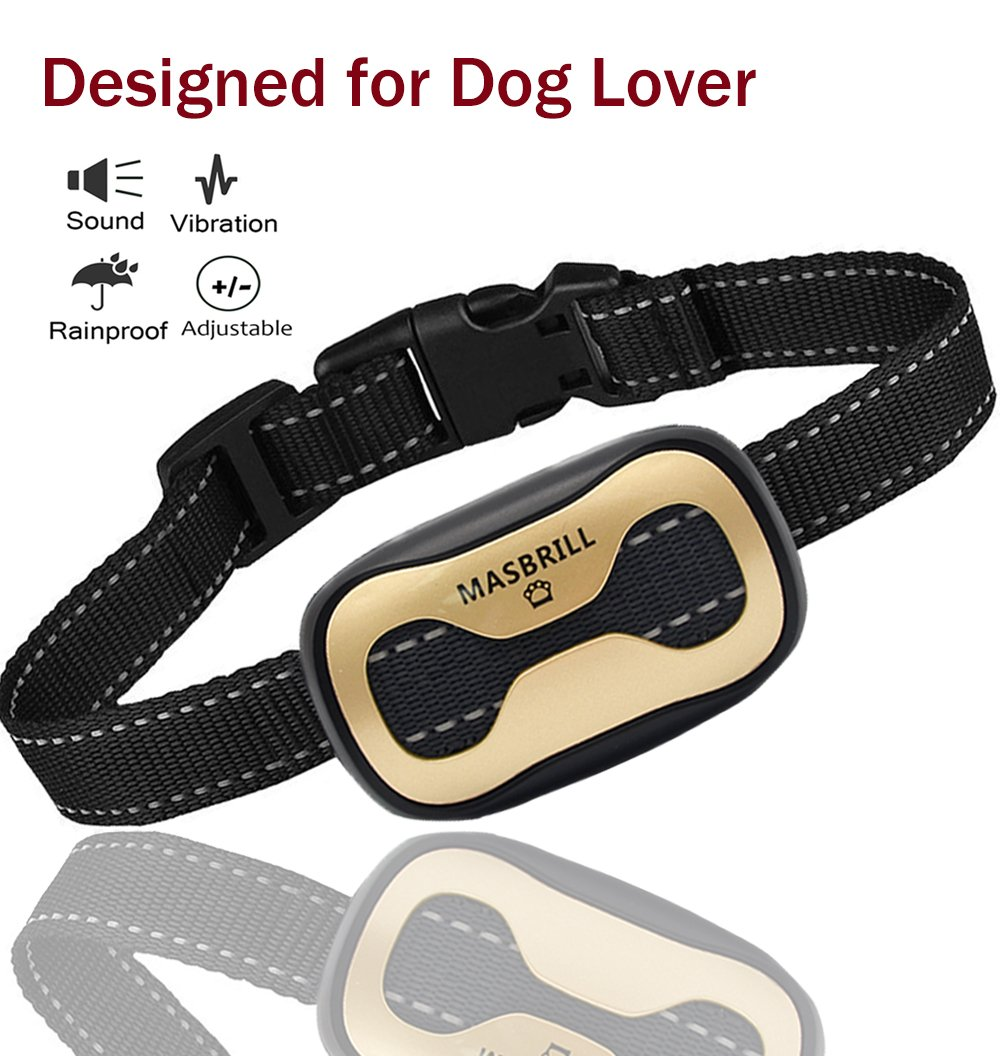 MASBRILL Bark Collar Small Medium Large Dogs, Safe Stop Barking Devices, 2018 Harmless Human Training Control Dog Collar (Gold Bone(11-110lbs))