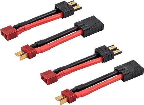 FPVKing TRX Traxxas a Deans T Conector 2 Piezas 12 AWG 1.97 Pulgadas Adaptador de Cable de conversión para Slash E-Revo Universal RC Lipo Cargador de ...