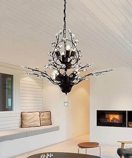 Lámparas de techo, Retro Hierro 8 Cabezas Cristal Candelabro ...